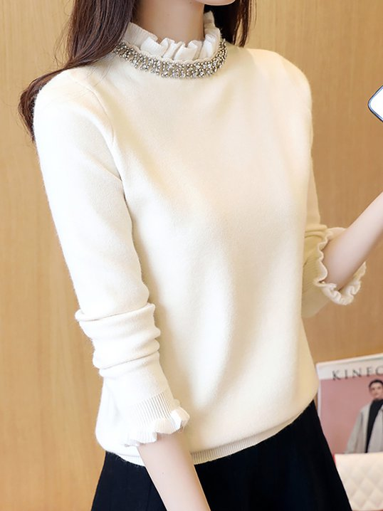Knitted Sheath Beaded Ruffled Casual Sweaters