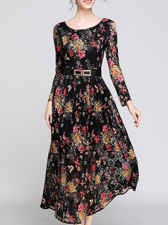 ce9983f8de Stylewe Casual Dresses Long Sleeve Floral Dresses Daytime A-Line Crew Neck  Elegant Floral-Print Dresses