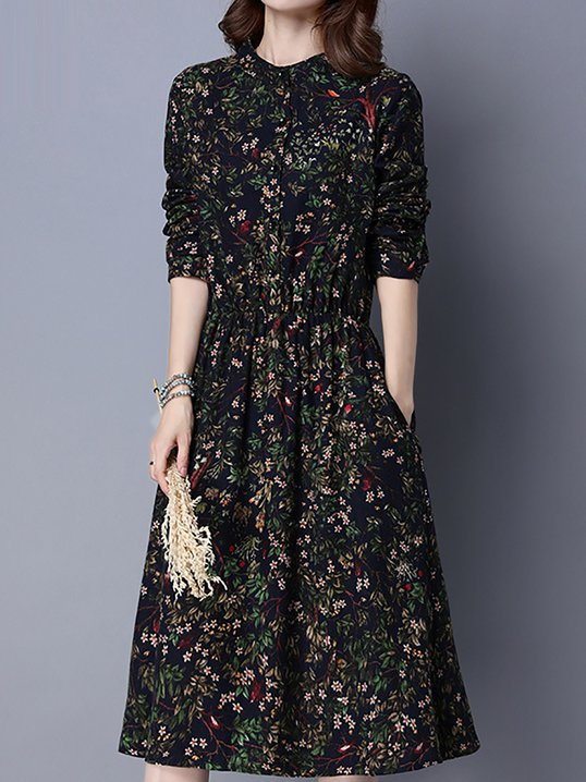 Stand Collar Blouson Daily Casual Floral Midi Dress