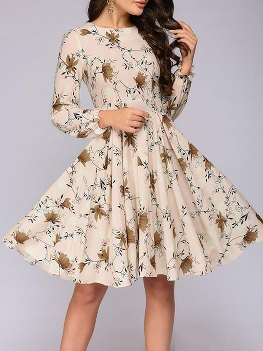 f5905cdce8f Stylewe Casual Dresses Long Sleeve Floral Dresses Daytime A-Line Crew Neck  Floral-Print Elegant Dresses