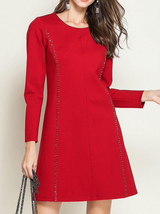 1ac6c21aa1d Stylewe Party Dresses Long Sleeve Casual Dresses Going Out A-Line Crew Neck  Beaded Casual Dresses