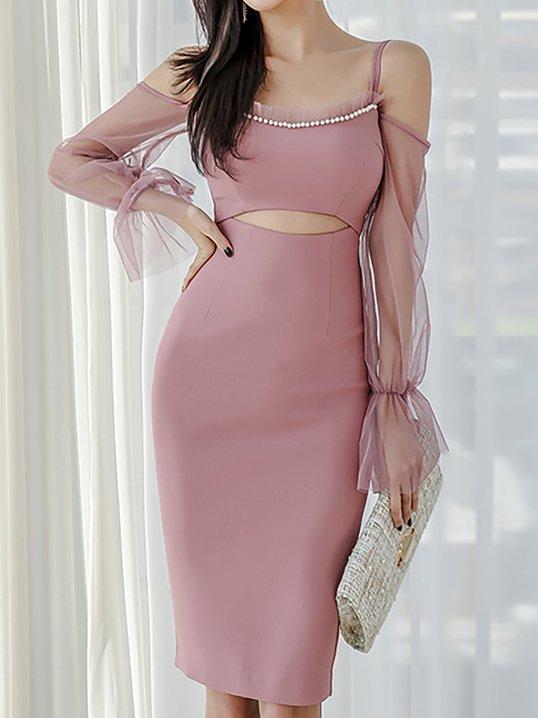 bc9e4c6cda Stylewe Formal Dresses Summer Dresses Date Sheath Spaghetti Elegant Paneled  Bell Sleeve Dresses