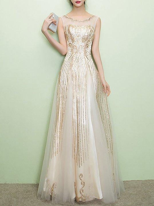 cf1d3f1b6f5e Stylewe Summer Dresses Sundress Evening A-Line Crew Neck Shimmer Evening  Sleeveless Dresses
