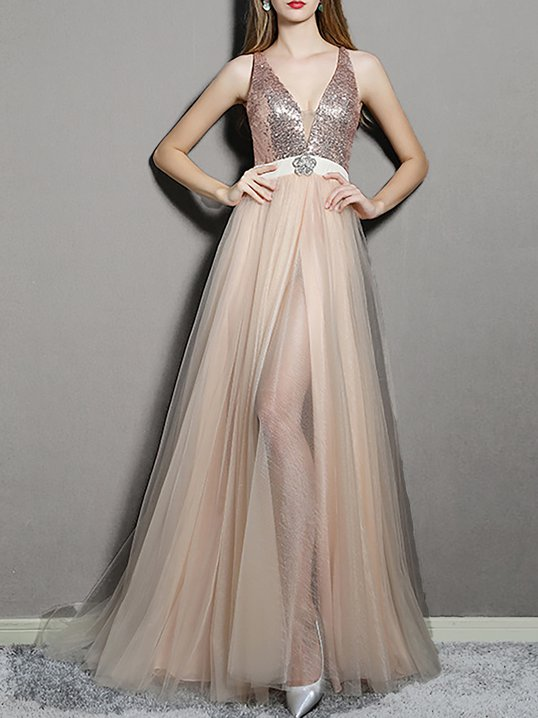 b1514ab68cb8 Stylewe Formal Dresses Summer Dresses Party   Evening Sheath Deep V-Neck  Slit Evening Sleeveless Dresses