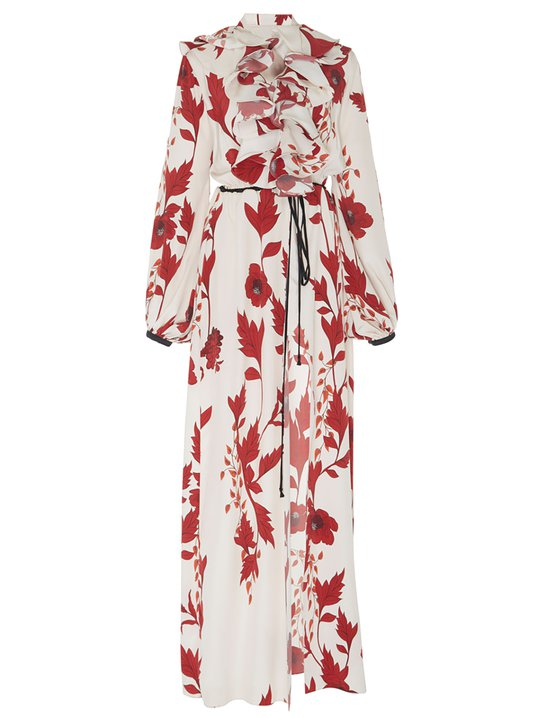 ca3c7bfeb8d Stylewe Floral Dresses Long Sleeve Ruffled Dresses Daily Swing Stand Collar  Ruffled Holiday Dresses