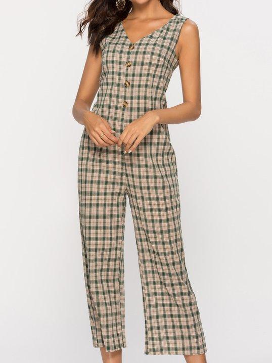 13250c4551e1 Stylewe Jumpsuits V Neck Holiday Sleeveless Khaki Jumpsuits