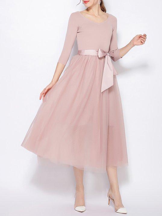 af8306824657 Stylewe Party Dresses Summer Dresses Cocktail Swing V Neck 3 4 Sleeve Paneled  Elegant Dresses