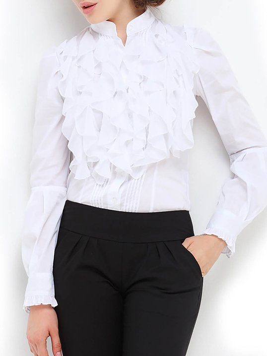 b77c8793d5e8e6 Stylewe Long Sleeve White Red Women Blouses For Work Cotton Elegant Stand  Collar Elegant Ruffled Daytime Blouses
