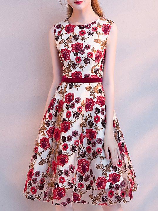872b1a148c16d0 Stylewe Formal Dresses Sundress Evening A-Line Crew Neck Beaded Sweet Sleeveless  Dresses