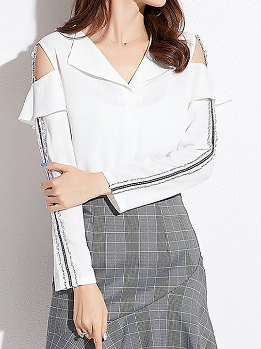 ed35cf75f0c80f Stylewe Long Sleeve White Women Blouses For Work Elegant Polyester V