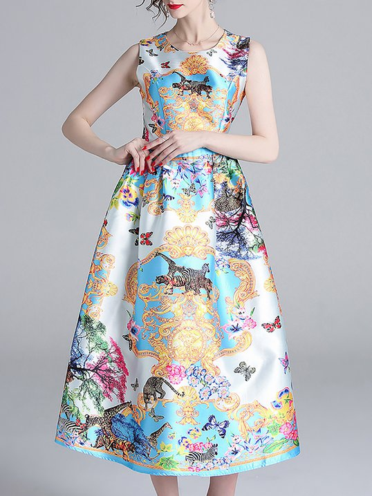 6ced97415bdf Stylewe Sundress Floral Dresses Party A-Line Crew Neck Sleeveless ...