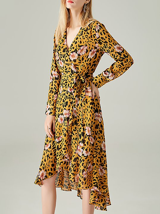 Stylewe Casual Dresses Long Sleeve Floral Dresses Party High Low V Neck  Elegant Printed Dresses 328f988fa
