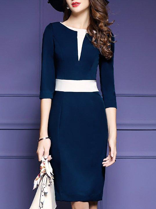 58e1b0262e62d Stylewe Formal Dresses Sundress Date Sheath Bateau boat Neck Elegant  Paneled 3 4 Sleeve Dresses