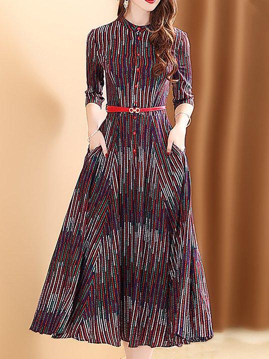 8ea82ca9c5f Stylewe Sundress Vintage Dresses Holiday Swing Stand Collar Printed 3 4  Sleeve Elegant Dresses