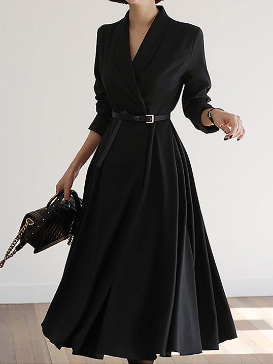 6d0efba3b53 Stylewe V Neck Black Paneled Solid A-Line Date Midi Dress