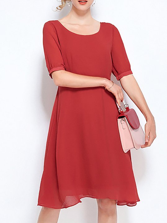 9978fe26056 Stylewe Sundress Casual Dresses Daily Sheath Crew Neck Casual Tiered Half  Sleeve Dresses