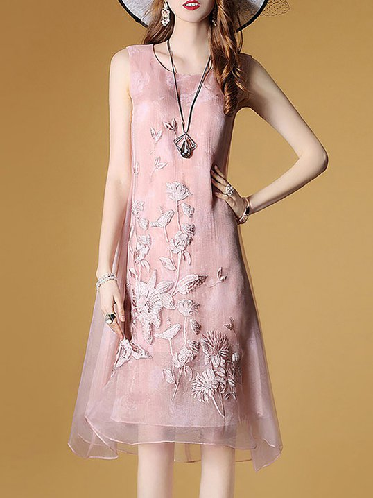 e6e3c17ff74 Stylewe Pink Shift Daytime Vintage Floral-Embroidered Midi Dress
