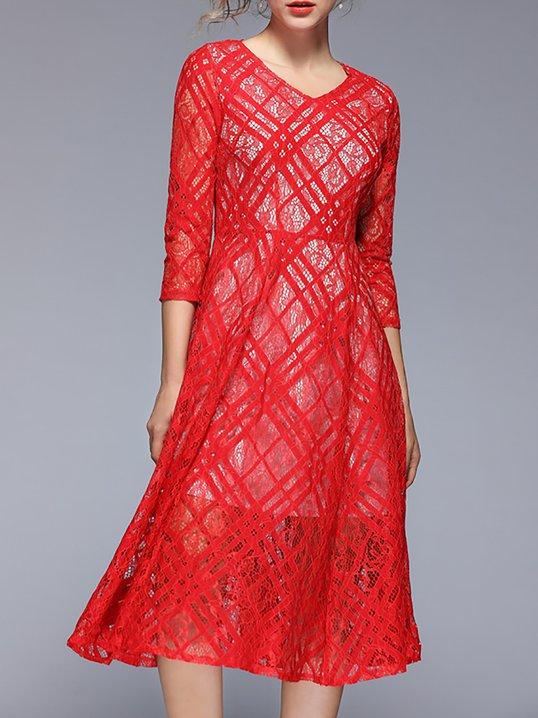 96fbad63dfd Stylewe Formal Dresses Sundress Date A-Line V Neck Guipure Lace Half Sleeve  Elegant Dresses