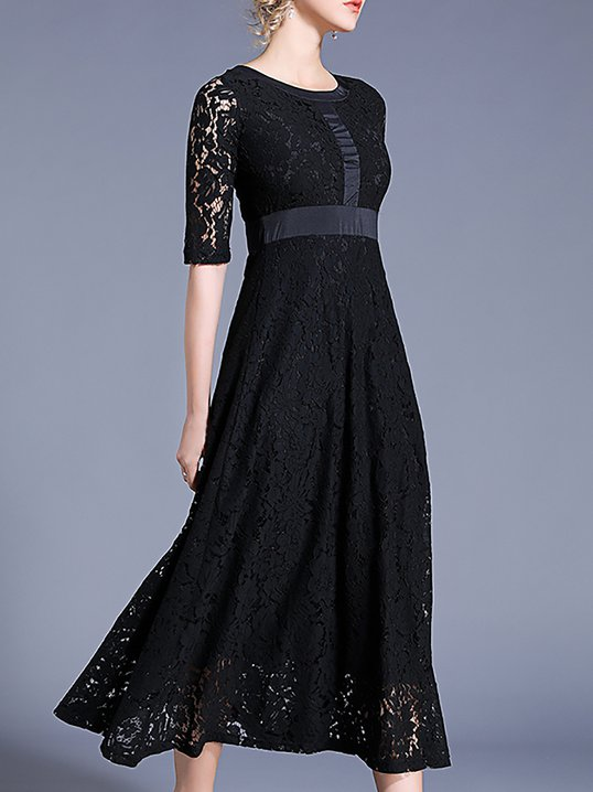 6a995c5d Stylewe Summer Dresses Sundress Work A-Line Crew Neck Guipure Lace Elegant  Half Sleeve Dresses