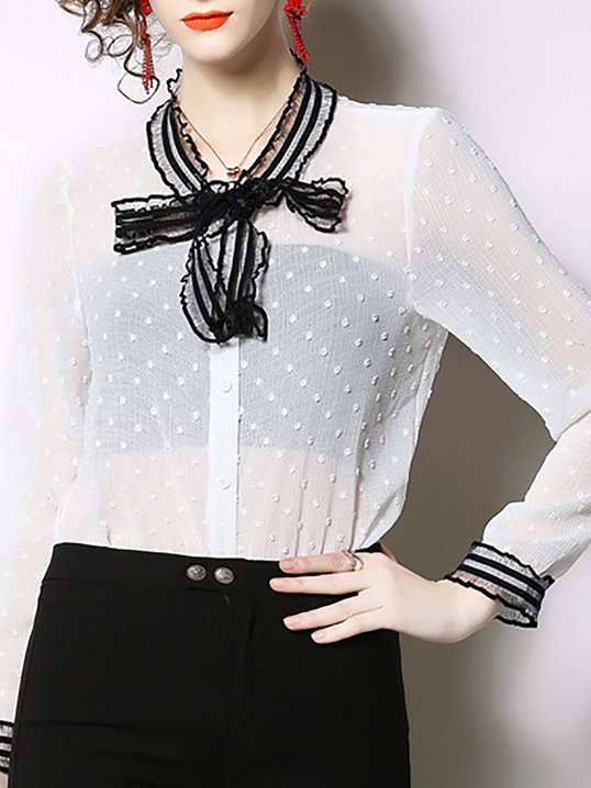 a98cf86edea315 Stylewe Long Sleeve White Women Blouses Tie-Neck Polyester Casual Daily  Buttoned Blouses