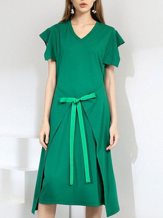 1087a4083aa67 Stylewe Summer Dresses Sundress Daily Shift V Neck Paneled Short Sleeve Casual  Dresses