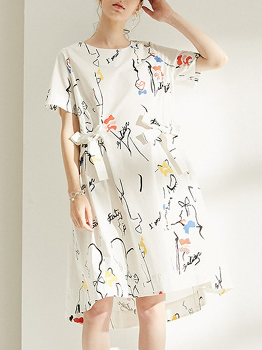 e450ef7a5d72 Stylewe White Shift Daily Bow Printed Sweet Midi Dress