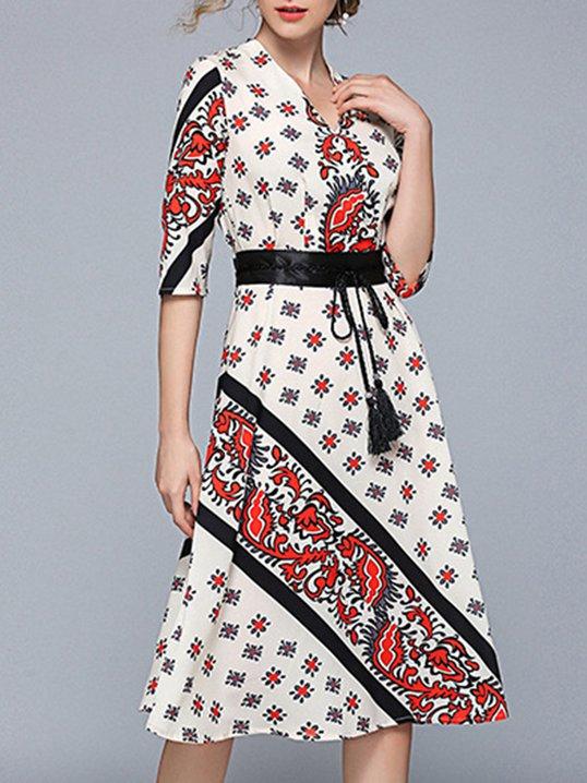 787401af90 Stylewe Sundress Casual Dresses Daily A-Line V Neck Paneled Half Sleeve  Casual Dresses