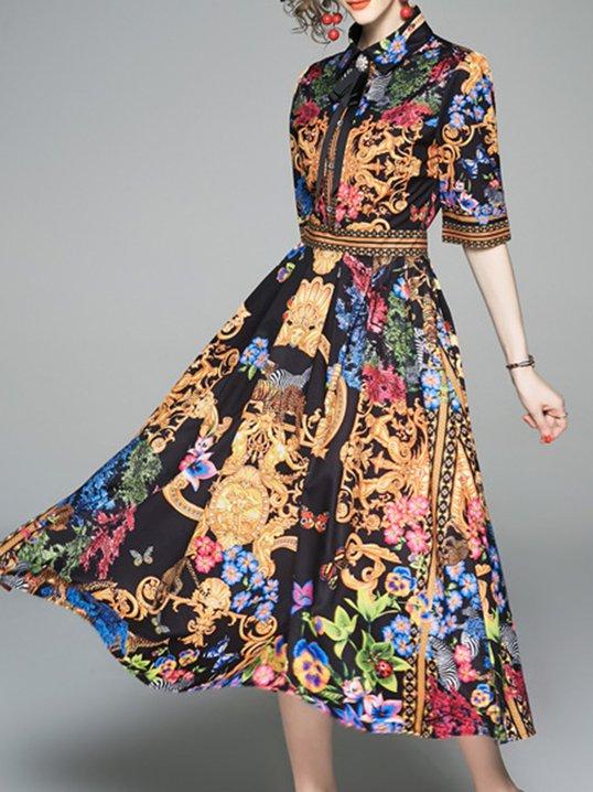 4561eaa3a1 Stylewe Summer Dresses Shirt Dress Holiday A-Line Shirt Collar Half Sleeve  Paneled Casual Dresses