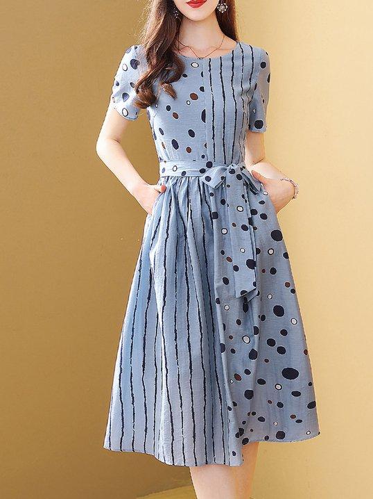a0d0f08f87c Stylewe Summer Dresses Sundress Date A-Line Crew Neck Short Sleeve Zipper  Casual Dresses