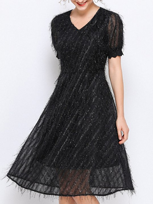 4be9a745c51 Stylewe V Neck A-Line Solid Fluffy Elegant Short Sleeve Cocktail Date Midi  Dress