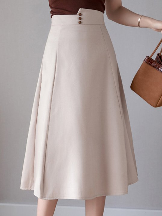 d807a4a33d Stylewe Work Date Going Out Buttoned Solid A-Line Midi Skirt
