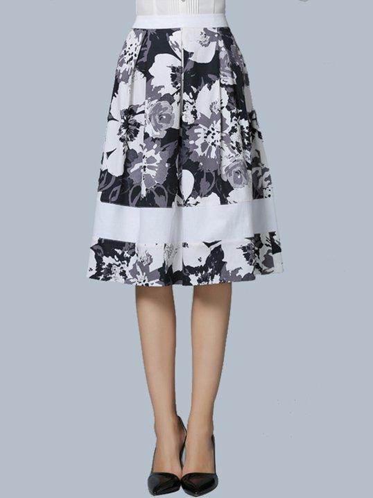 389af1f99 Stylewe Black-White Elegant Date Zipper Floral Printed A-Line Midi Skirt