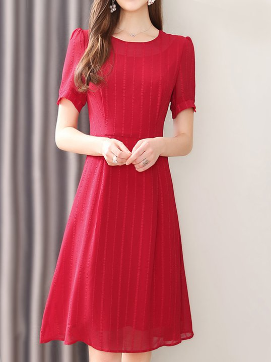 5613efe2af1 Stylewe Sundress 1 Casual Dresses Daily A-Line Crew Neck Casual Short  Sleeve Gathered Dresses