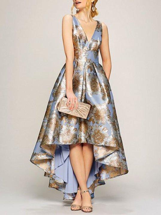 A-THENA Asymmetric Printed Floral Elegant Maxi Dress