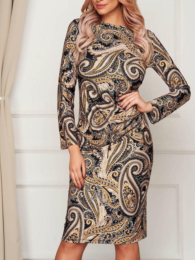 Long Sleeve Elegant Paisley Mini Dress