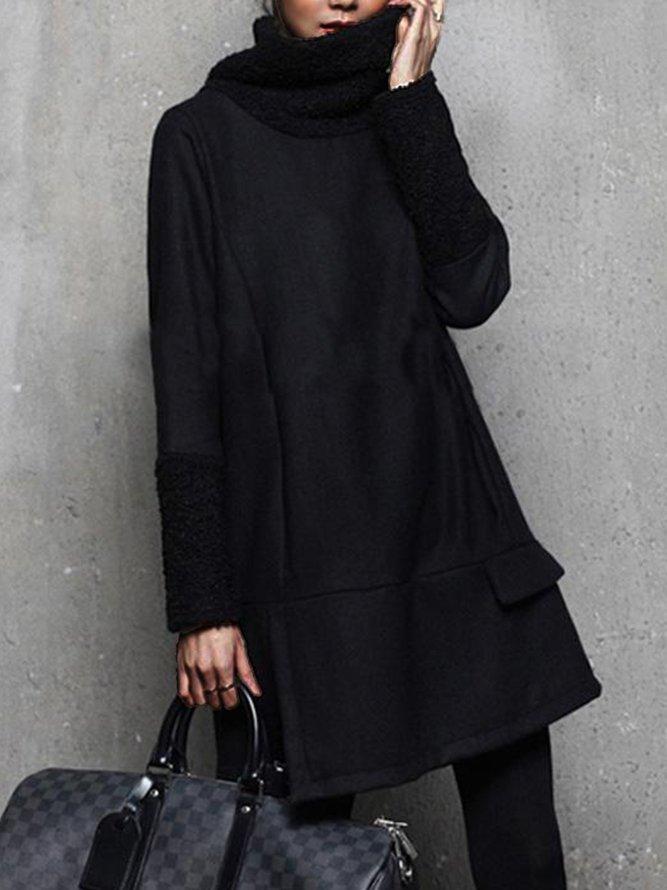 Long Sleeve Loosen Elegant Plain Mini Dress