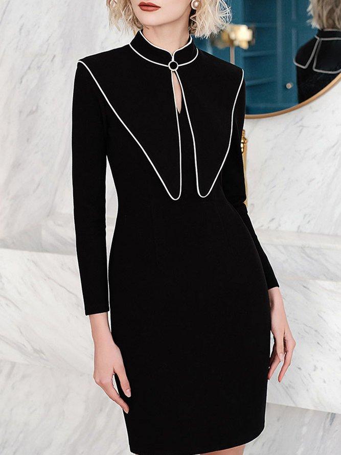 Long Sleeve Plain Mandarin Collar Mini Dress