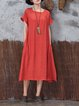 Plus Size Shorts Sleeve Shift Crew Neck Casual Dress