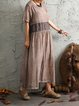 Cotton Casual Half Sleeve Crew Neck Gathered Linen Dress