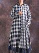 High Low Casual Gingham Shirt Collar Long Sleeve Linen Top