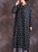 Long Sleeve Floral Cotton Casual Linen Dress
