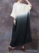 Plus Size Boat Neck Casual Shift Ombre/Tie-Dye Dress