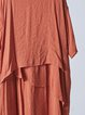 3/4 Sleeve Casual Crew Neck Shift Solid Linen Dress