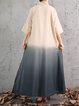 3/4 Sleeve Stand Collar Slit Ombre/Tie-Dye Linen Dress