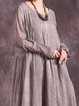 Long Sleeve Crinkled Crew Neck Linen Dress