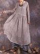 Long Sleeve Crinkled Crew Neck Linen Dress