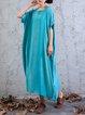 Casual Batwing Shift Cotton Linen Dress
