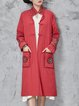 Red H-line Cotton Casual Stand Collar Linen Outerwear