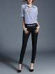 Blue Stripes Shirt Collar Casual Embroidered Blouse
