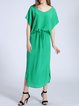 Green Silk Slit Casual Midi Dress